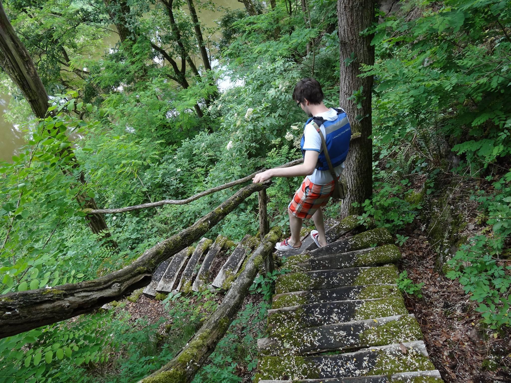 francois hokonono boyfriend wood stairs in forest